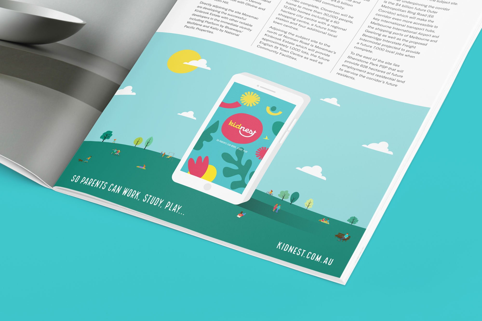 Kidnest magazine ad design