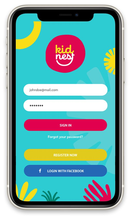 kidnest app login page design